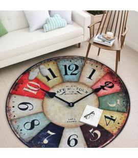 Clock Decorated Floor Mat