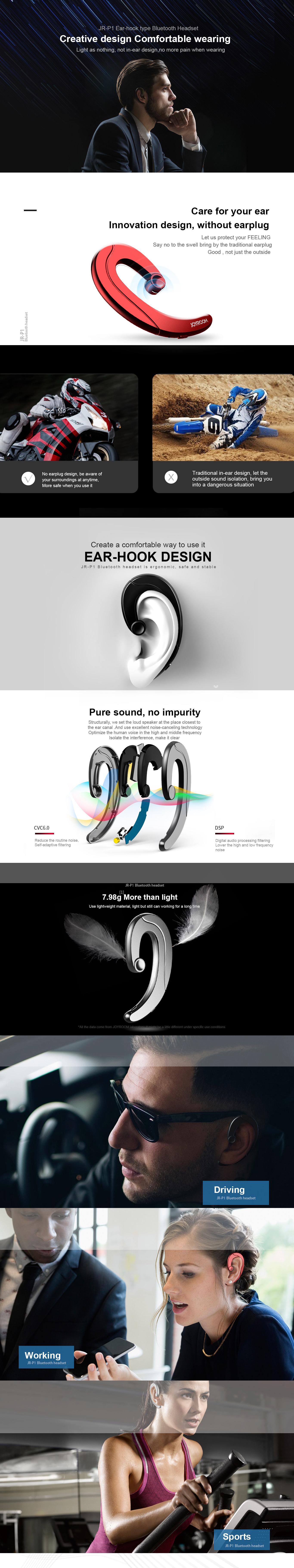 JR-P1 Ear-hook type Bluetooth headset